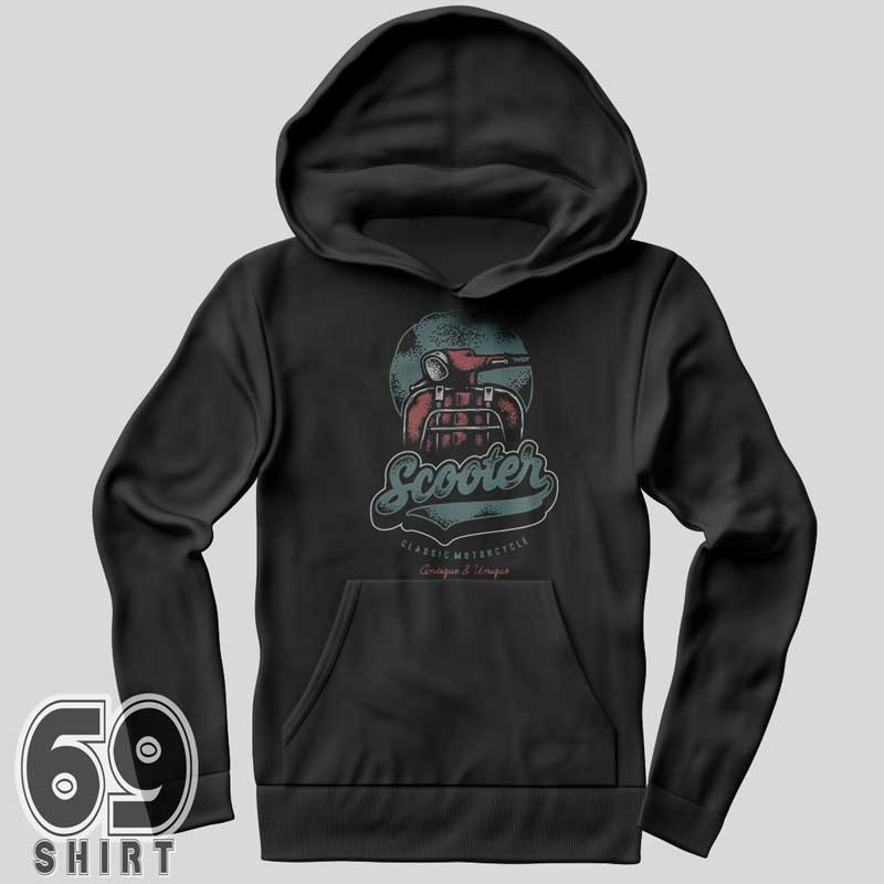Vintage Graphic Design Classic Scooter Hoodie Print
