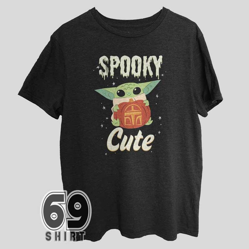 Star Wars The Mandalorian Grogu Spooky Halloween Cute Pumpkin T-Shirt