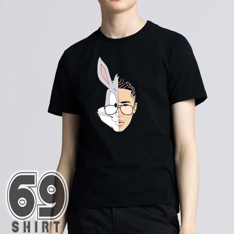 Bad Bunny Merch Face Cartoon Graphic Mens T-Shirt
